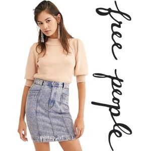 NWT Free People Sienna Seamed Denim Skirt